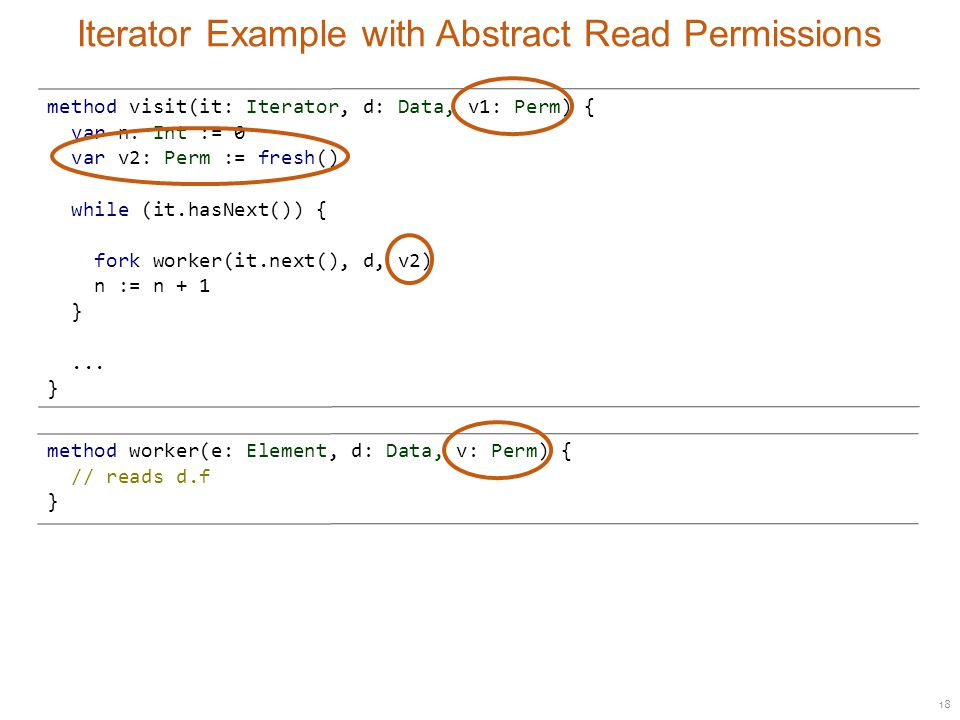 18 Iterator Example with Abstract Read Permissions method visit(it: Iterator, d: Data, v1: Perm) { var n: Int := 0 var v2: Perm := fresh() while (it.hasNext()) { fork worker(it.next(), d, v2) n := n + 1 }...