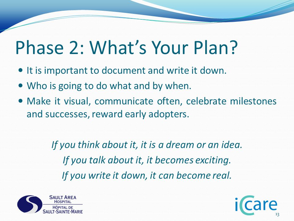 Phase 2: What's Your Plan. It is important to document and write it down.