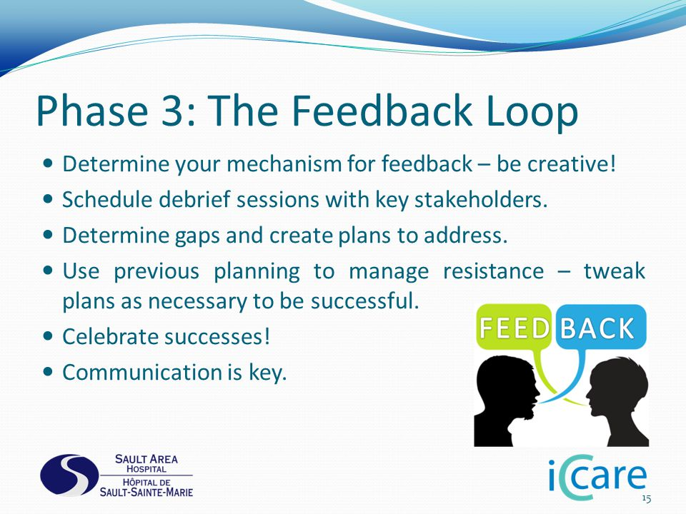 Phase 3: The Feedback Loop Determine your mechanism for feedback – be creative.
