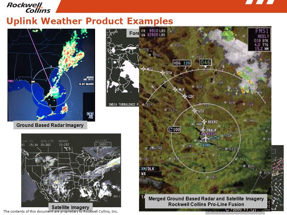 Uplink Weather Product Examples Ground Based Radar Imagery Satellite Imagery Forecasted Winds Aloft Forecasted Turbulence Forecasted Icing The content