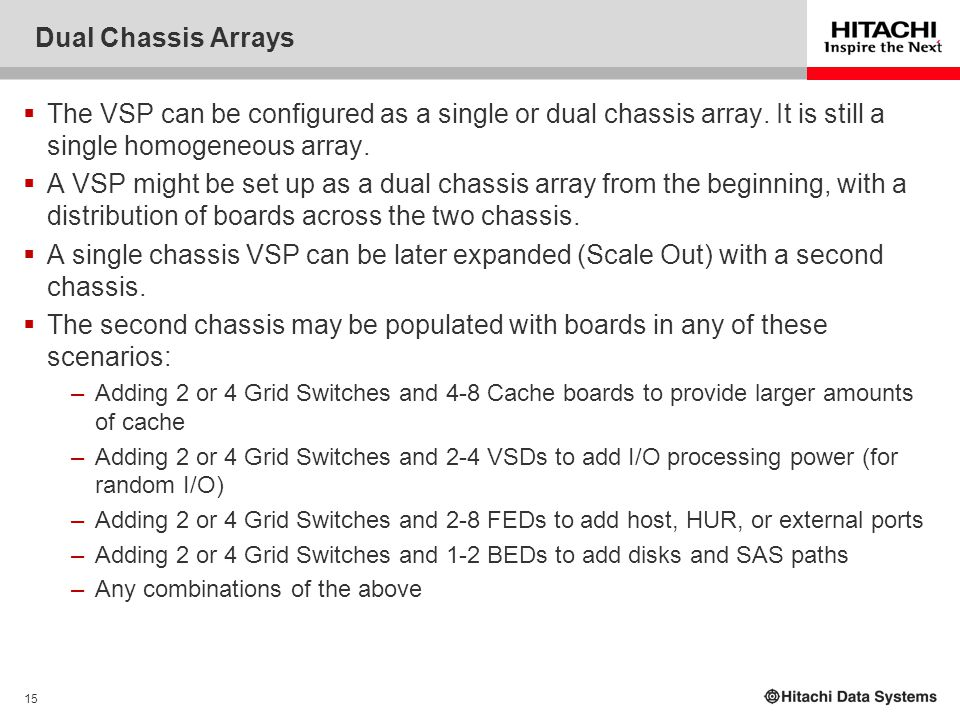 15 Dual Chassis Arrays  The VSP can be configured as a single or dual chassis array. It is still a single homogeneous array.  A VSP might be set up