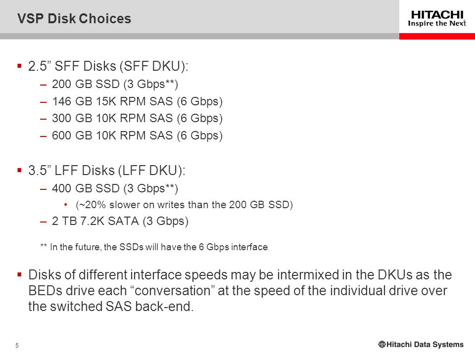 """5 VSP Disk Choices  2.5"""" SFF Disks (SFF DKU): –200 GB SSD (3 Gbps**) –146 GB 15K RPM SAS (6 Gbps) –300 GB 10K RPM SAS (6 Gbps) –600 GB 10K RPM SAS (6"""