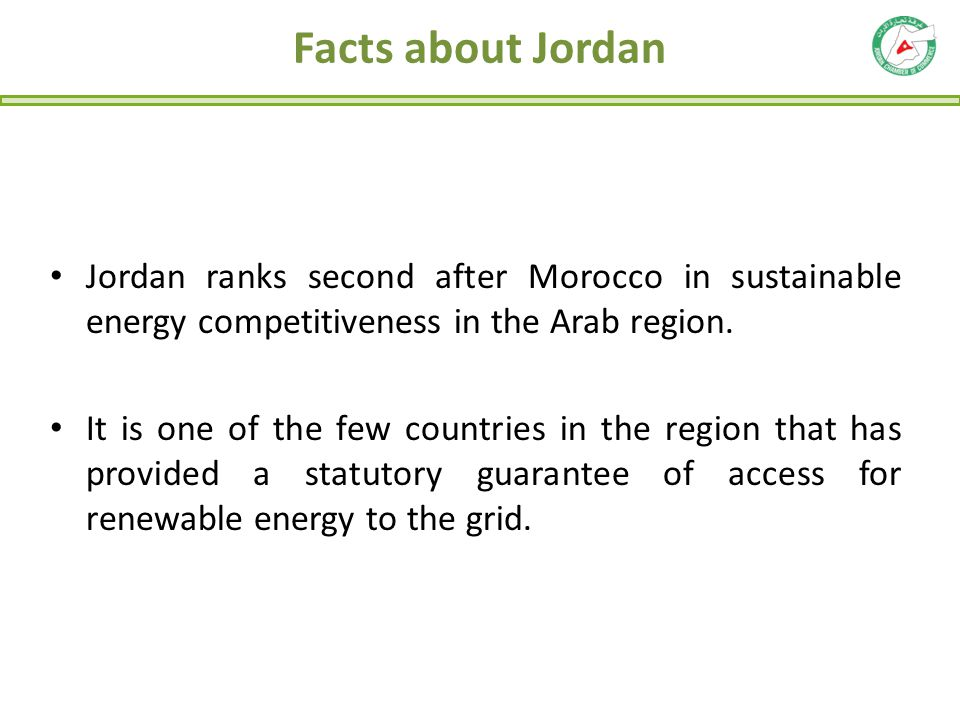 Facts about Jordan Jordan ranks second after Morocco in sustainable energy competitiveness in the Arab region. It is one of the few countries in the r