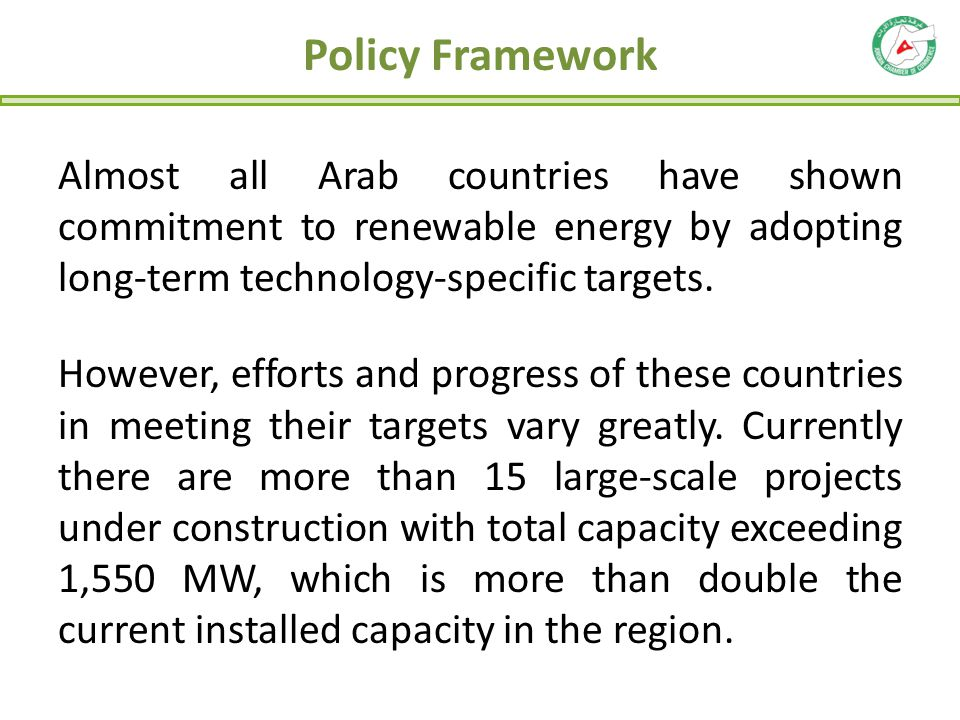 Almost all Arab countries have shown commitment to renewable energy by adopting long-term technology-specific targets. However, efforts and progress o