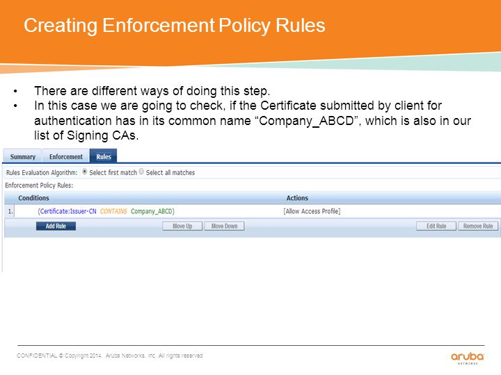 Creating Enforcement Policy Rules CONFIDENTIAL © Copyright 2014.