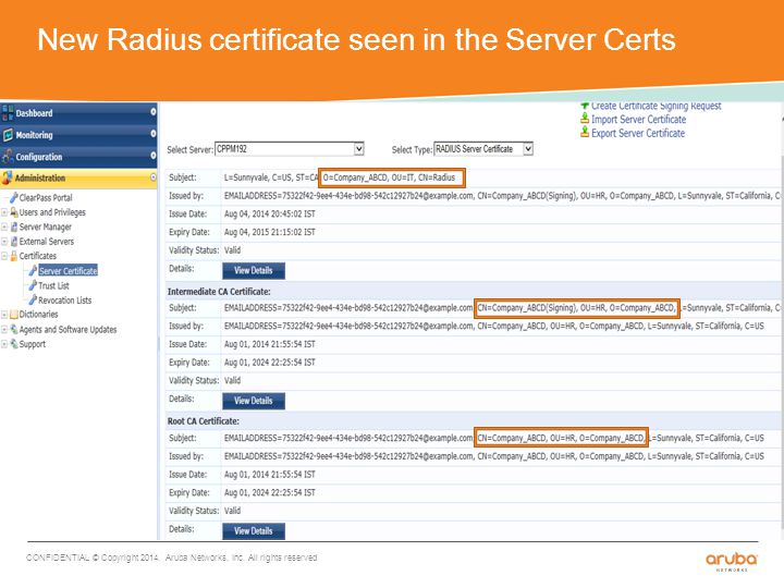 New Radius certificate seen in the Server Certs CONFIDENTIAL © Copyright 2014.