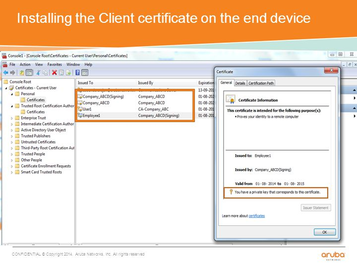 Installing the Client certificate on the end device CONFIDENTIAL © Copyright 2014.