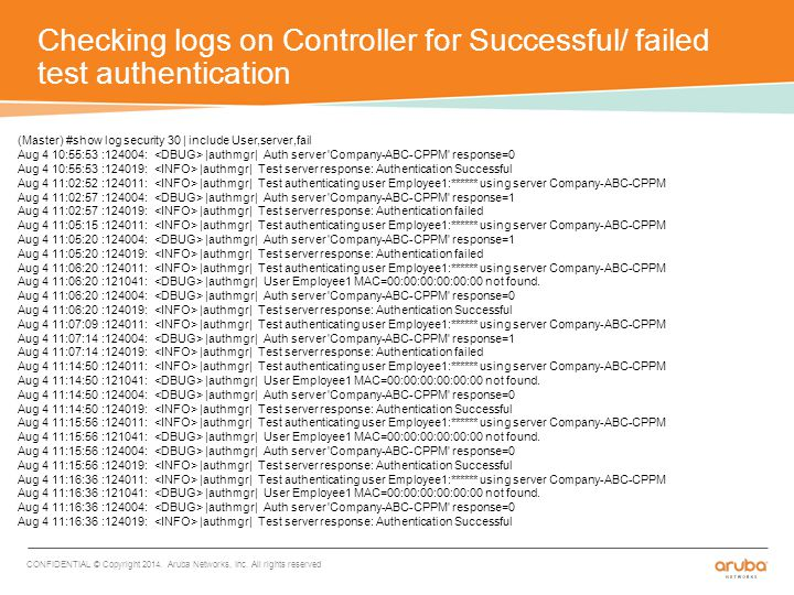 Checking logs on Controller for Successful/ failed test authentication CONFIDENTIAL © Copyright 2014.