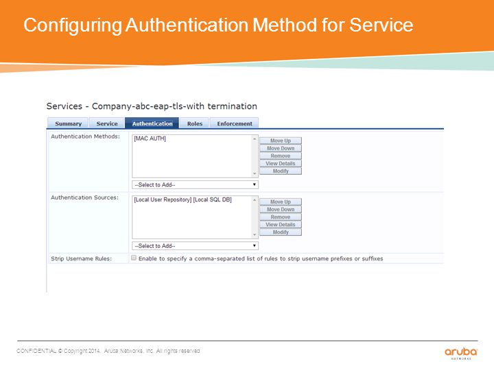 Configuring Authentication Method for Service CONFIDENTIAL © Copyright 2014.