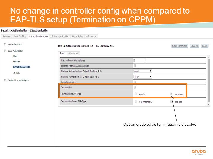 No change in controller config when compared to EAP-TLS setup (Termination on CPPM) Option disabled as termination is disabled
