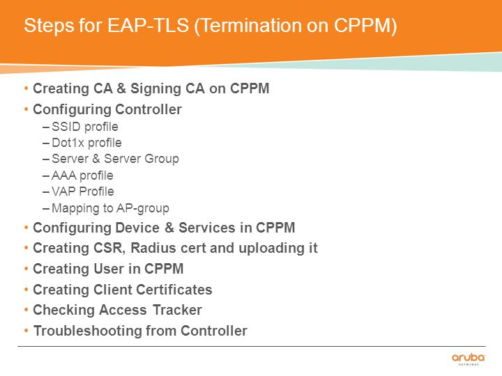 Steps for EAP-TLS (Termination on CPPM) Creating CA & Signing CA on CPPM Configuring Controller –SSID profile –Dot1x profile –Server & Server Group –AAA profile –VAP Profile –Mapping to AP-group Configuring Device & Services in CPPM Creating CSR, Radius cert and uploading it Creating User in CPPM Creating Client Certificates Checking Access Tracker Troubleshooting from Controller