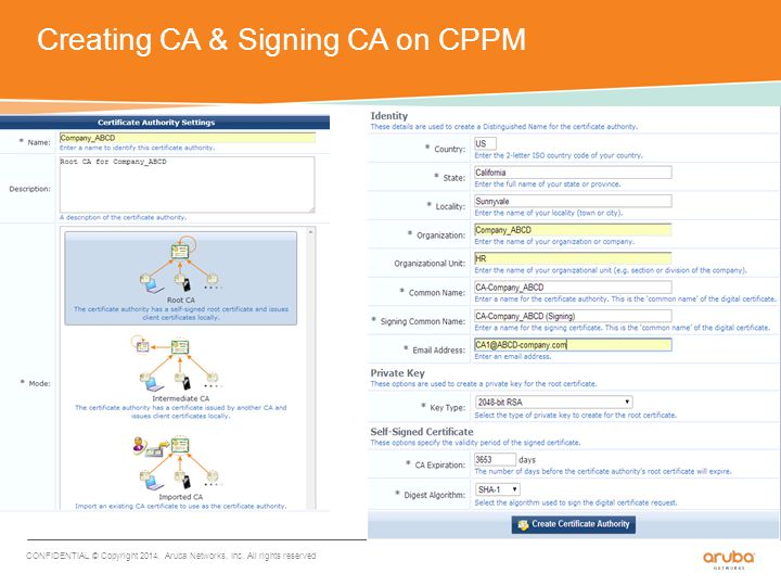 Checking CA cert info CONFIDENTIAL © Copyright 2014. Aruba Networks, Inc. All rights reserved