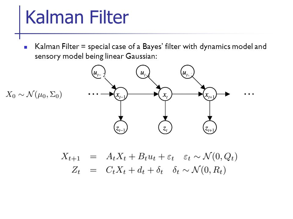 Kalman Filter = special case of a Bayes' filter with dynamics model and sensory model being linear Gaussian: Kalman Filter 2