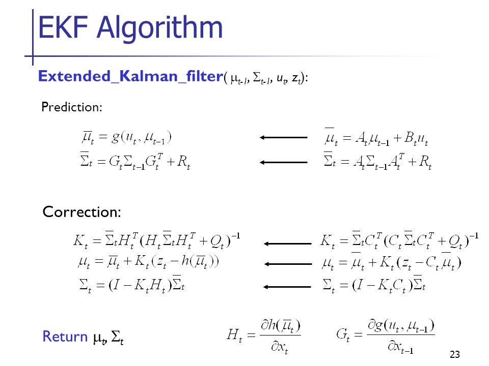 23 EKF Algorithm Extended_Kalman_filter (  t-1,  t-1, u t, z t ): Prediction: Correction: Return  t,  t