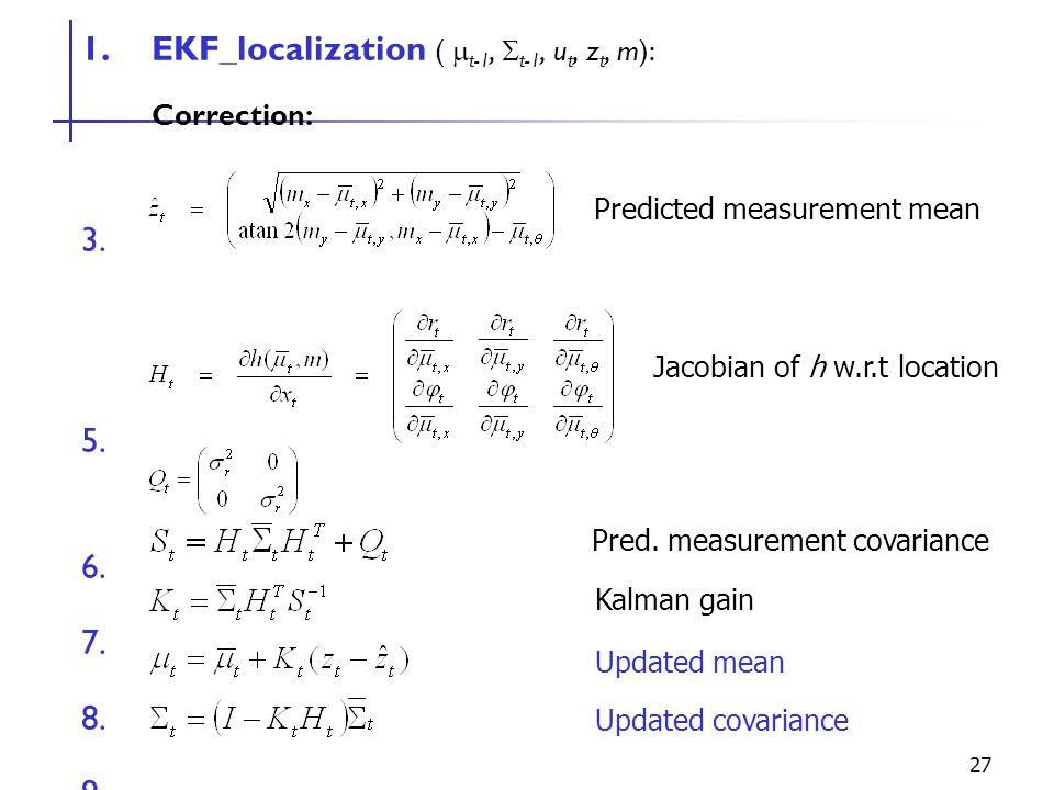 27 1.EKF_localization (  t-1,  t-1, u t, z t, m): Correction: 6.