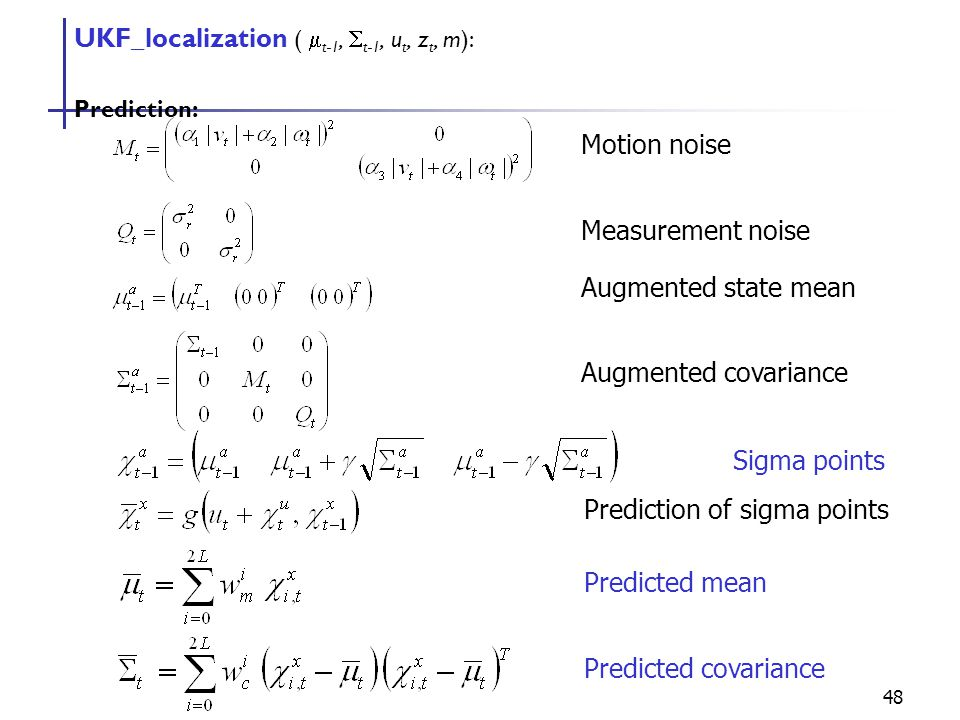 48 UKF_localization (  t-1,  t-1, u t, z t, m): Prediction: Motion noise Measurement noise Augmented state mean Augmented covariance Sigma points Prediction of sigma points Predicted mean Predicted covariance
