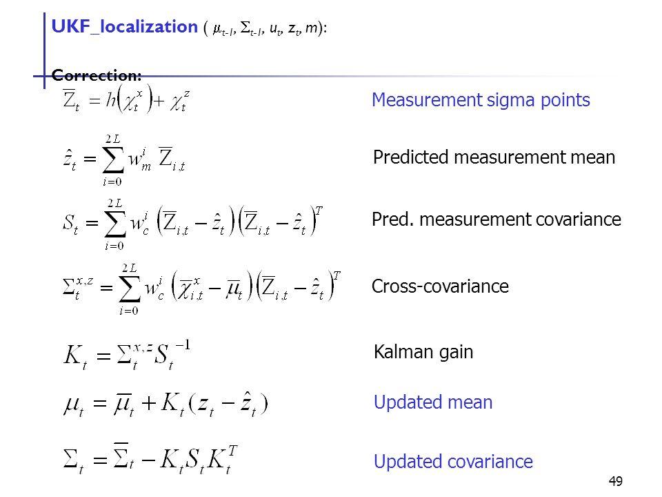 49 UKF_localization (  t-1,  t-1, u t, z t, m): Correction: Measurement sigma points Predicted measurement mean Pred.