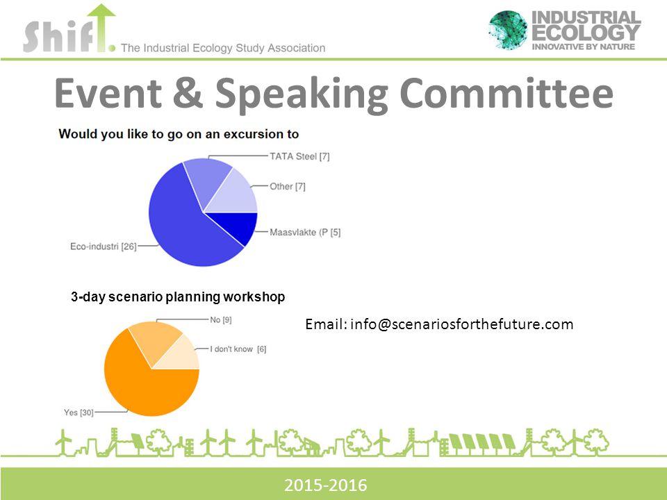Event & Speaking Committee 3-day scenario planning workshop Email: info@scenariosforthefuture.com 2015-2016