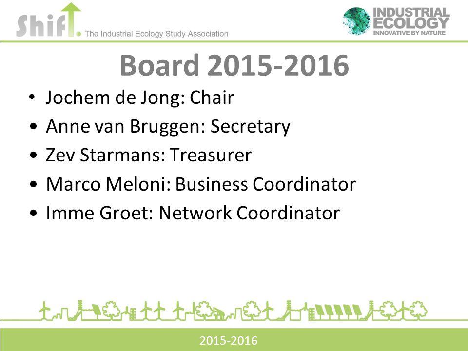 Board 2015-2016 Jochem de Jong: Chair Anne van Bruggen: Secretary Zev Starmans: Treasurer Marco Meloni: Business Coordinator Imme Groet: Network Coordinator 2015-2016