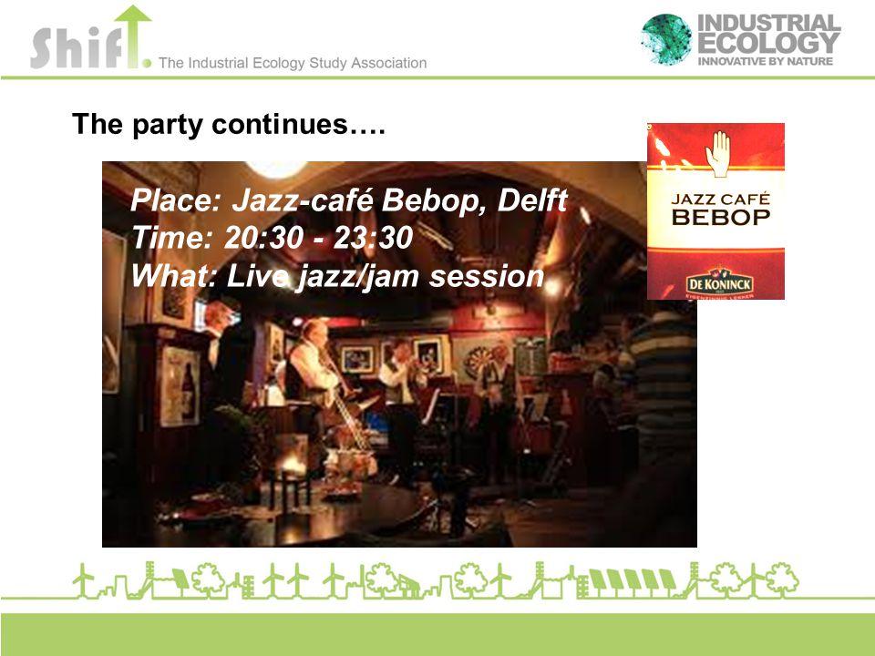 The party continues…. Place: Jazz-café Bebop, Delft Time: 20:30 - 23:30 What: Live jazz/jam session