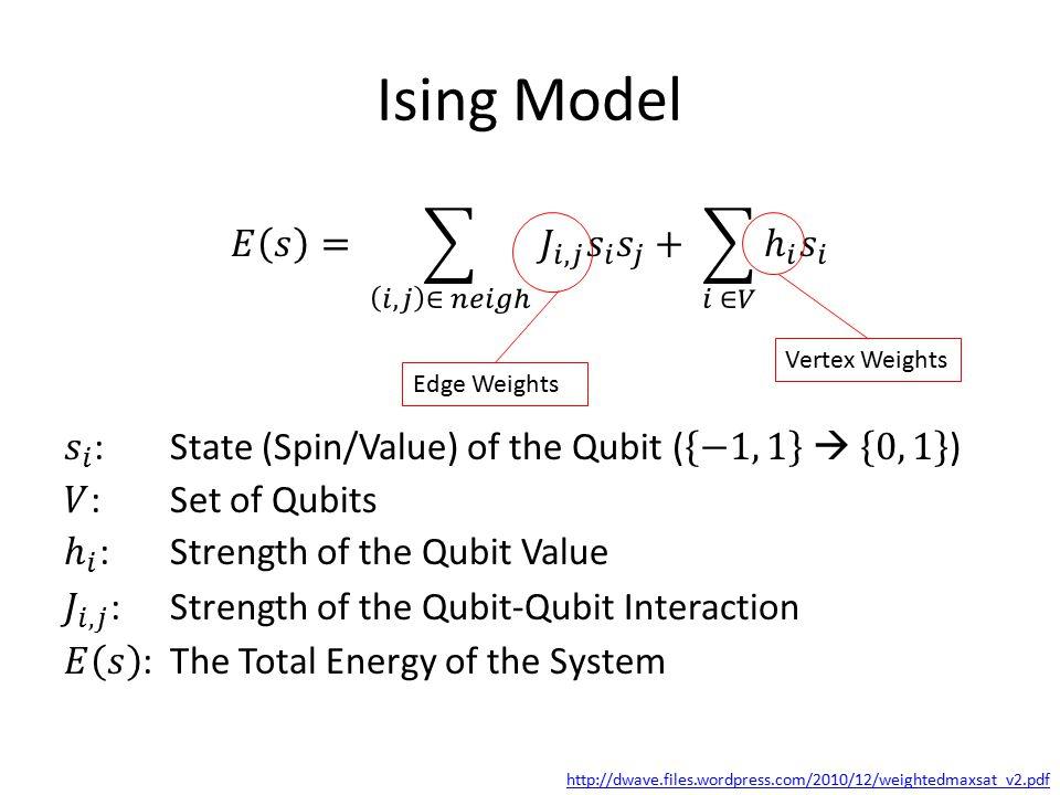 Ising Model http://dwave.files.wordpress.com/2010/12/weightedmaxsat_v2.pdf Edge Weights Vertex Weights
