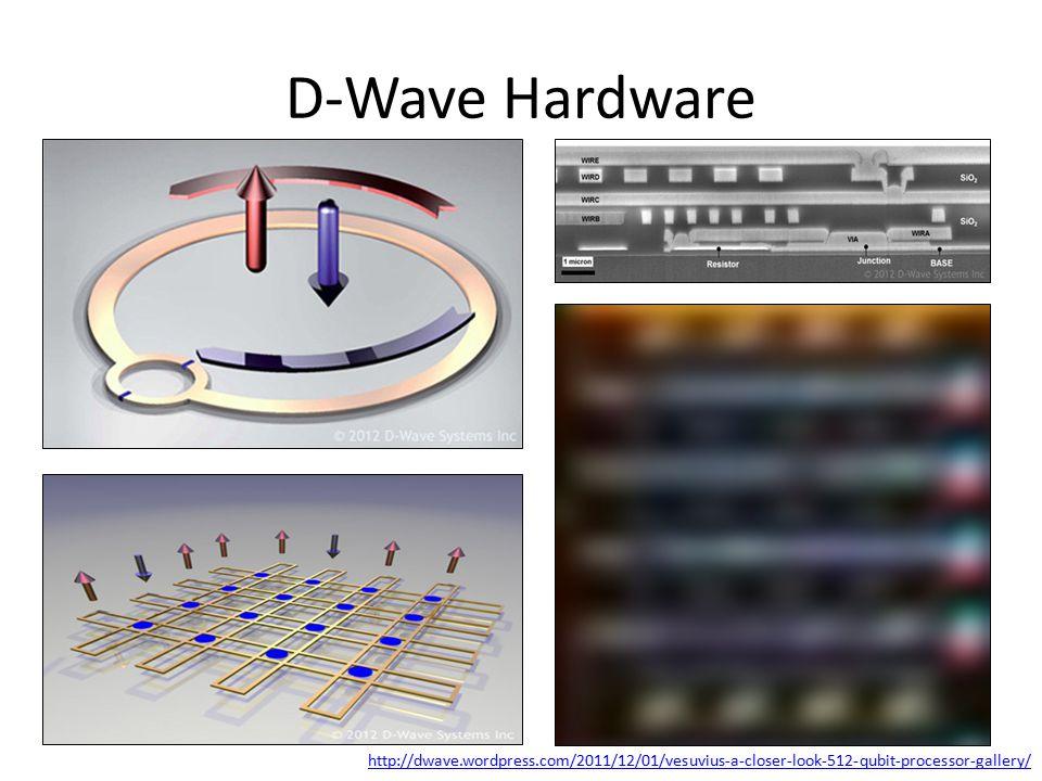 D-Wave Hardware http://dwave.wordpress.com/2011/12/01/vesuvius-a-closer-look-512-qubit-processor-gallery/