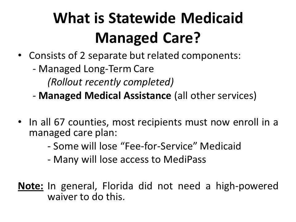 What is Statewide Medicaid Managed Care.