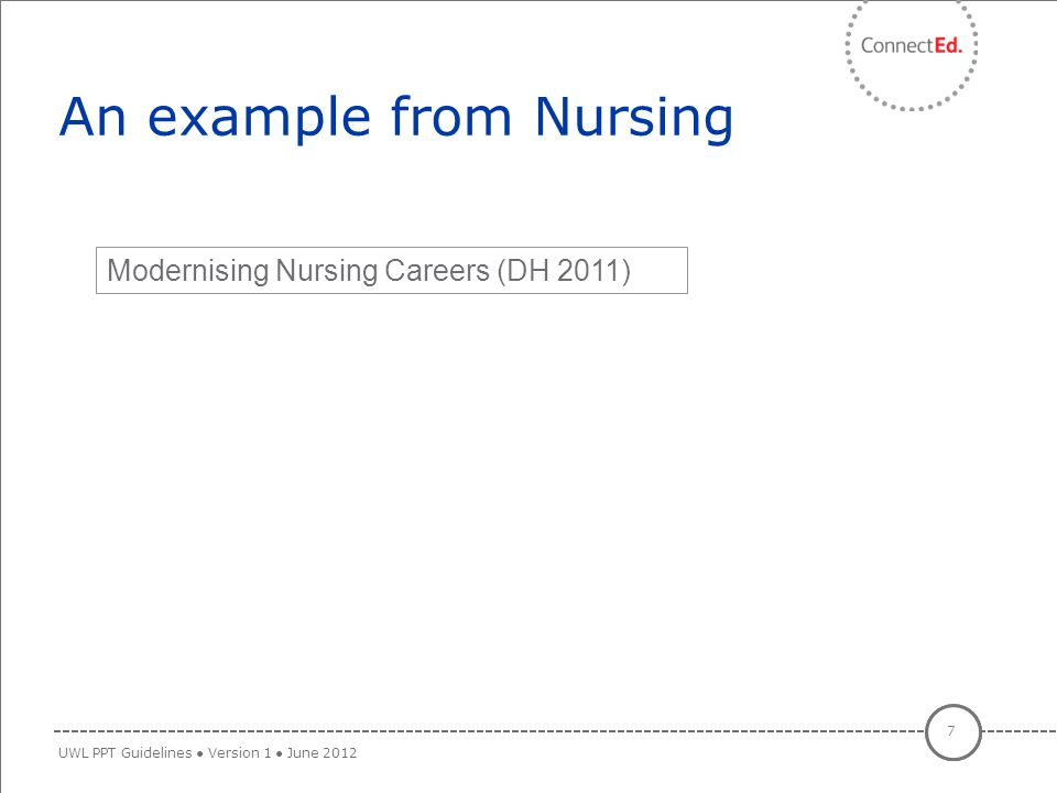 An example from Nursing 7 UWL PPT Guidelines ● Version 1 ● June 2012 Modernising Nursing Careers (DH 2011)