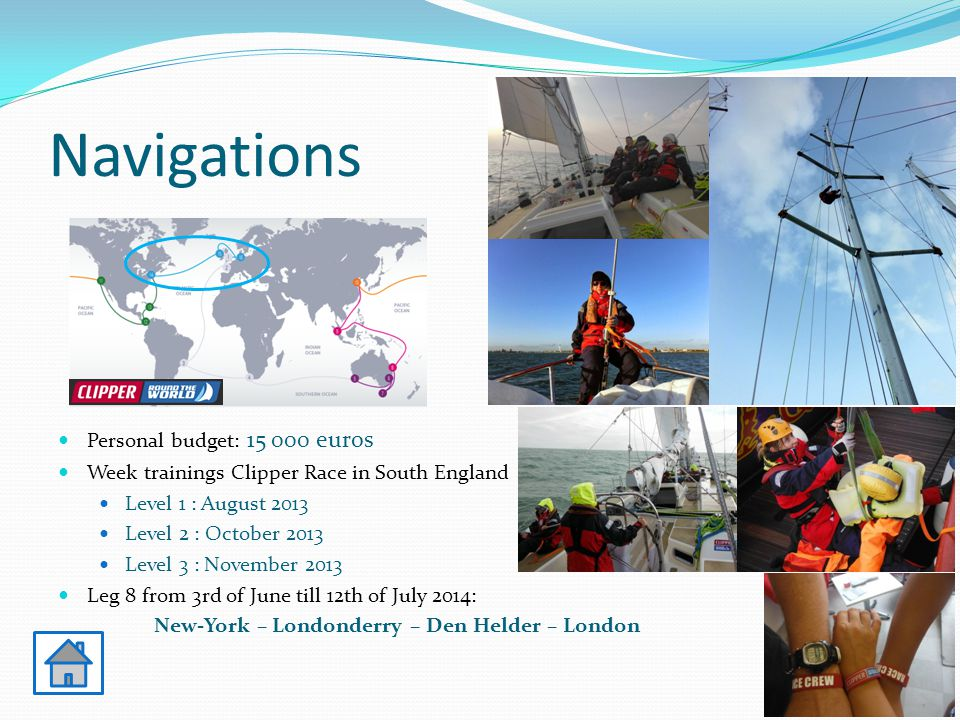 Navigations Personal budget: 15 000 euros Week trainings Clipper Race in South England Level 1 : August 2013 Level 2 : October 2013 Level 3 : November 2013 Leg 8 from 3rd of June till 12th of July 2014: New-York – Londonderry – Den Helder – London