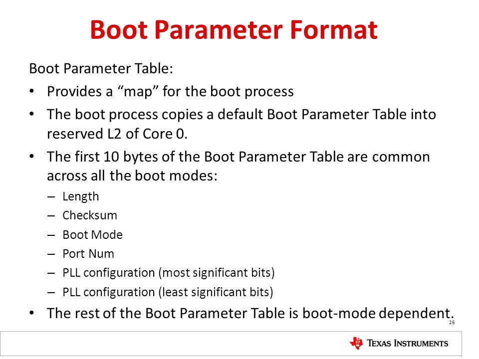 """Boot Parameter Format Boot Parameter Table: Provides a """"map"""" for the boot process The boot process copies a default Boot Parameter Table into reserved"""
