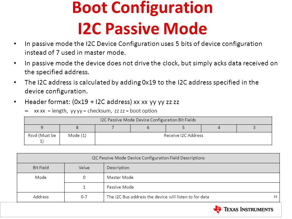 Boot Configuration I2C Passive Mode In passive mode the I2C Device Configuration uses 5 bits of device configuration instead of 7 used in master mode.