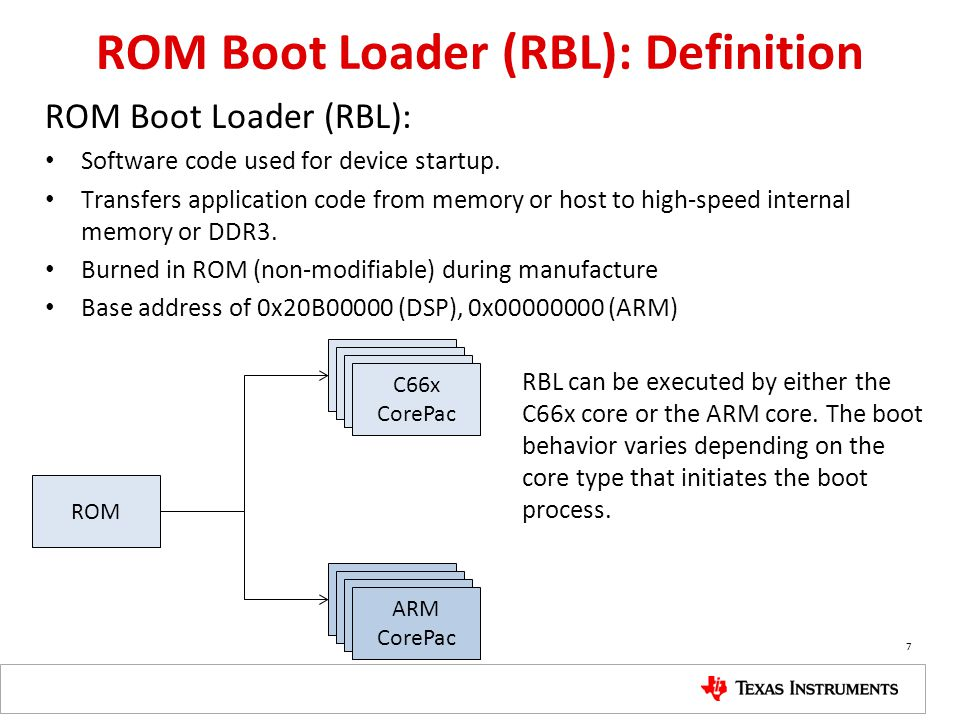Boot Process Requirements Select booting method: – Which CPU (ARM 0 or DSP Core 0) manages the boot All other cores are in idle state, waiting for interrupt – Which boot mode to use Update the configuration Trigger to use the configuration to prepare for booting – Configuring the device (PLLs and more) Load the image of the executable into the device Trigger all cores to run the executable 8