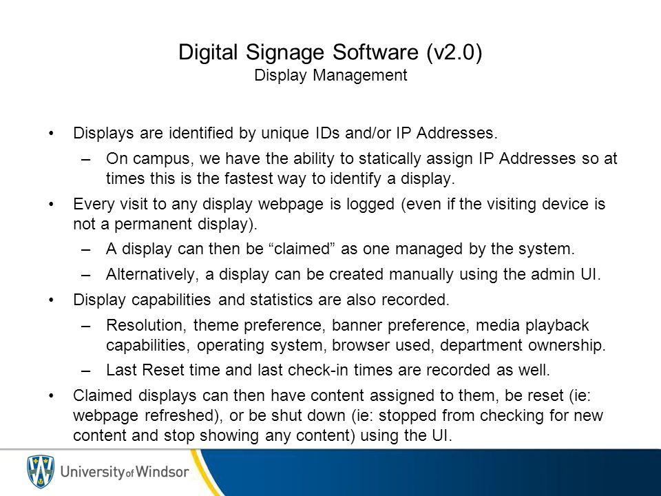 Digital Signage Software (v2.0) Display Management - Display Listing
