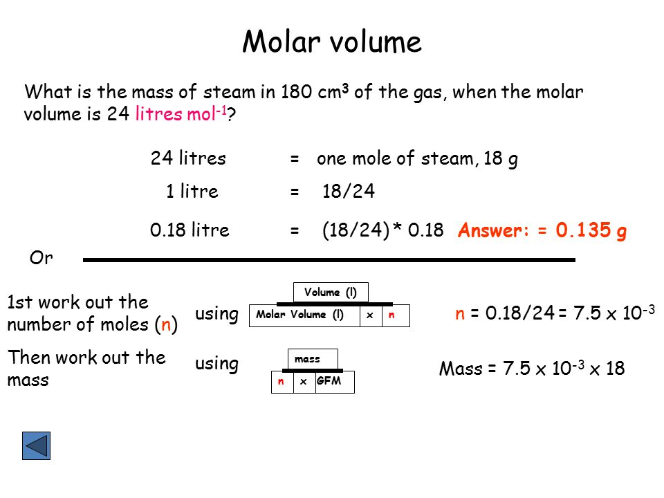 Molar volume What is the mass of steam in 180 cm 3 of the gas, when the molar volume is 24 litres mol -1 ? Answer: = 0.135 g Mass = 7.5 x 10 -3 x 18 o