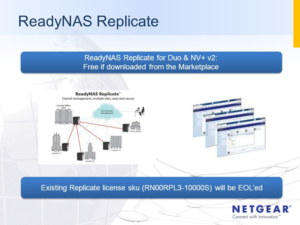 ReadyNAS Replicate ReadyNAS Replicate for Duo & NV+ v2: Free if downloaded from the Marketplace ReadyNAS Replicate for Duo & NV+ v2: Free if downloaded from the Marketplace Existing Replicate license sku (RN00RPL3-10000S) will be EOL'ed