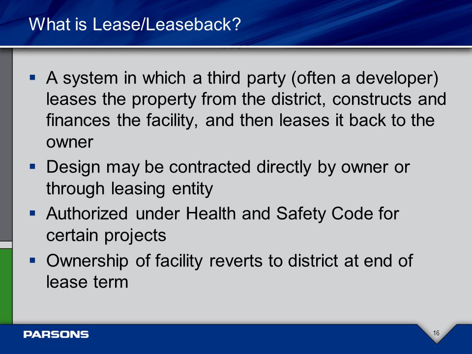 What is Lease/Leaseback.