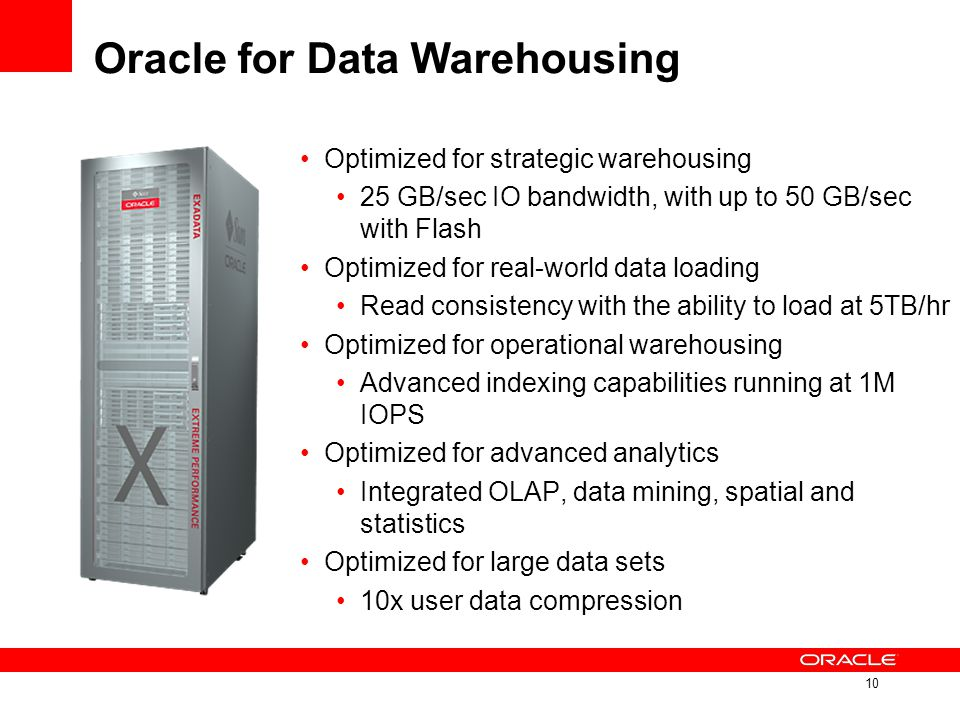 Oracle for Data Warehousing Optimized for strategic warehousing 25 GB/sec IO bandwidth, with up to 50 GB/sec with Flash Optimized for real-world data