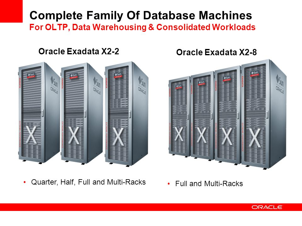 Complete Family Of Database Machines For OLTP, Data Warehousing & Consolidated Workloads Quarter, Half, Full and Multi-Racks Full and Multi-Racks Orac