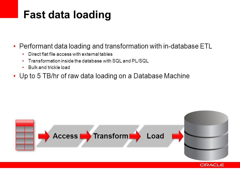 Fast data loading Performant data loading and transformation with in-database ETL Direct flat file access with external tables Transformation inside t