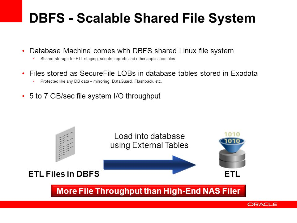DBFS - Scalable Shared File System Database Machine comes with DBFS shared Linux file system Shared storage for ETL staging, scripts, reports and othe