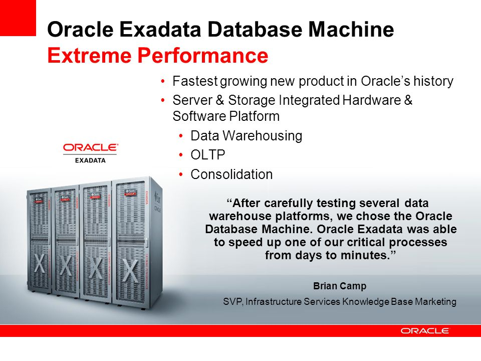 Workload Management © 2010 Oracle Corporation Request Real-Time ETL Batch ETL Analytic Reports OLTP Requests Ad-hoc Workload Assign Reject Queue Execute Downgrade Execute