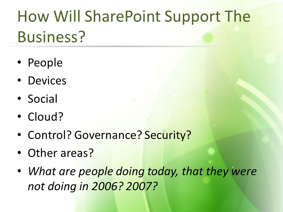 How Will SharePoint Support The Business. People Devices Social Cloud.