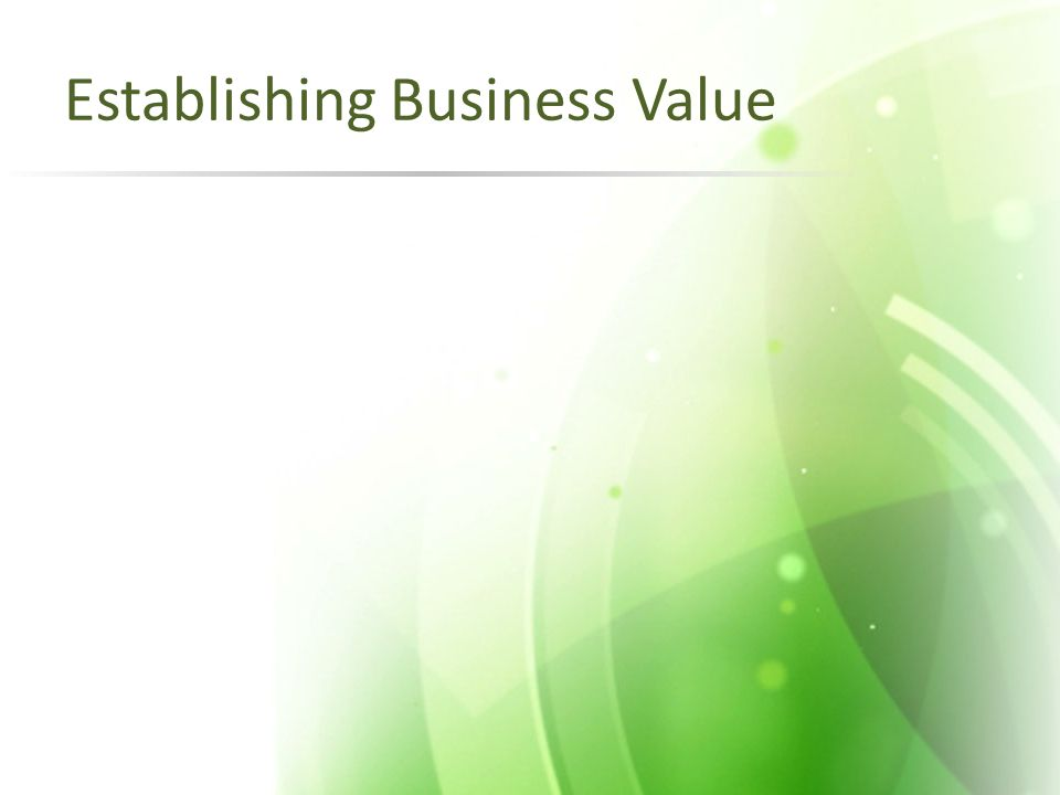 Establishing Business Value