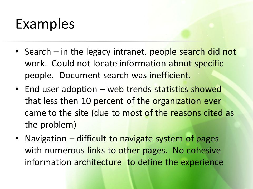 Examples Search – in the legacy intranet, people search did not work.