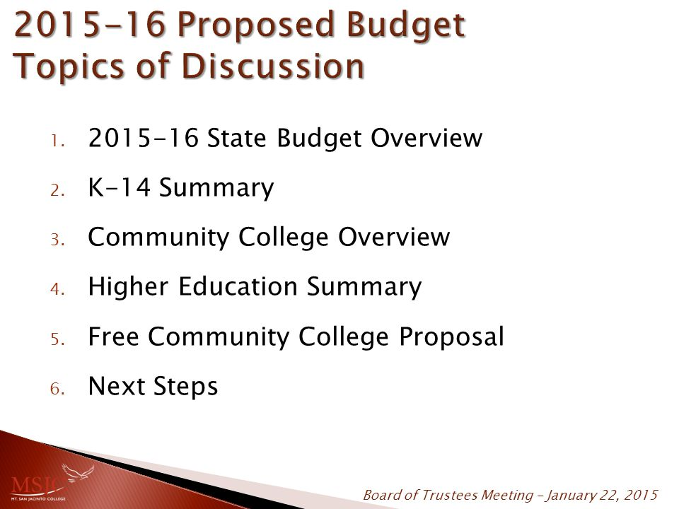 1. 2015-16 State Budget Overview 2. K-14 Summary 3. Community College Overview 4. Higher Education Summary 5. Free Community College Proposal 6. Next