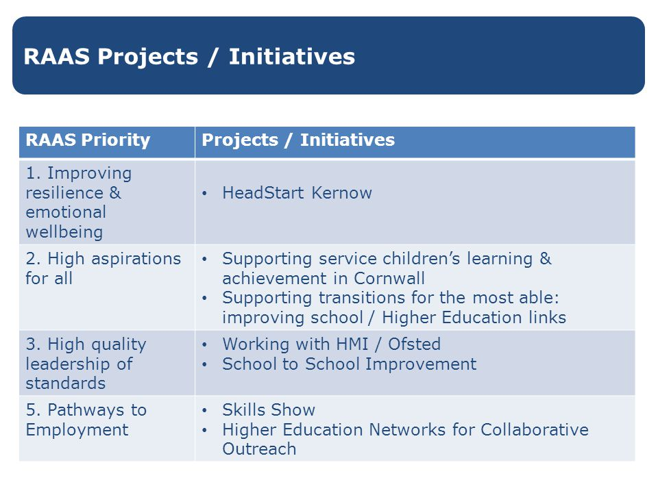 RAAS Projects / Initiatives RAAS PriorityProjects / Initiatives 1.