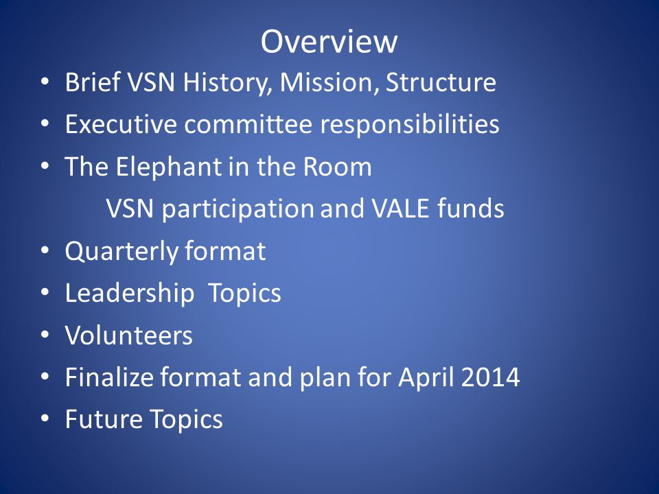 Overview Brief VSN History, Mission, Structure Executive committee responsibilities The Elephant in the Room VSN participation and VALE funds Quarterly format Leadership Topics Volunteers Finalize format and plan for April 2014 Future Topics