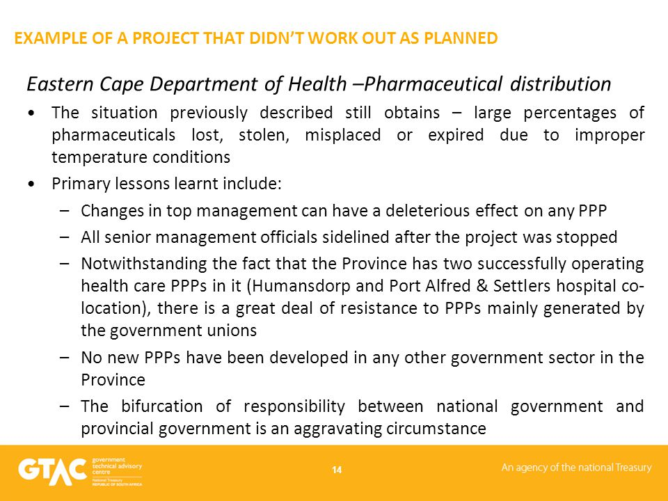 EXAMPLE OF A PROJECT THAT DIDN'T WORK OUT AS PLANNED Eastern Cape Department of Health –Pharmaceutical distribution The situation previously described