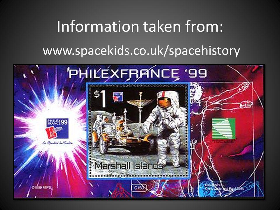 Information taken from: www.spacekids.co.uk/spacehistory