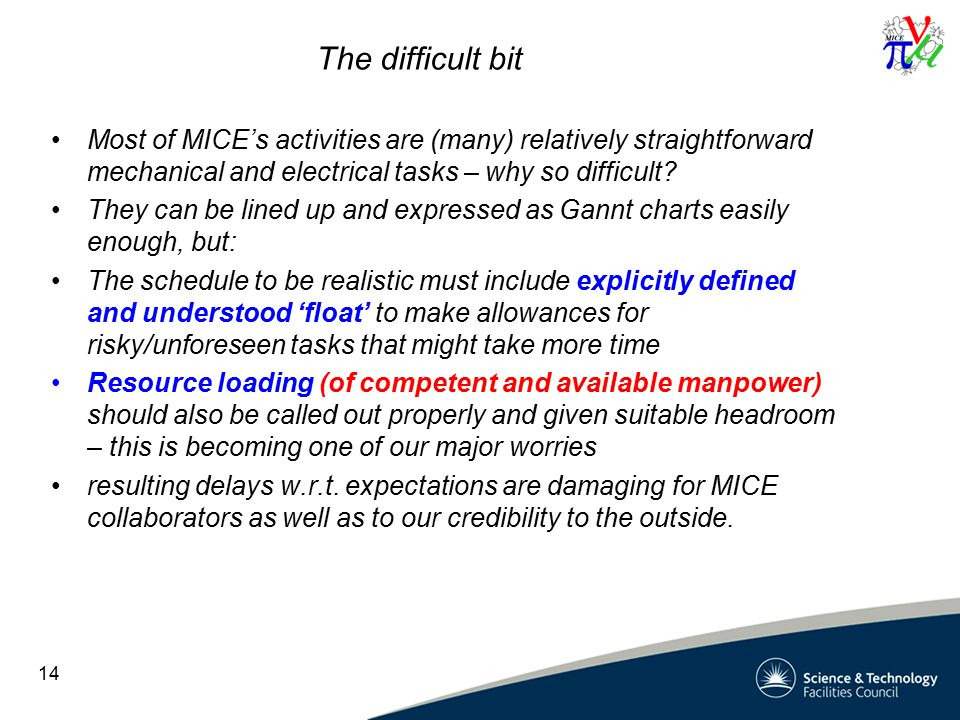 The difficult bit Most of MICE's activities are (many) relatively straightforward mechanical and electrical tasks – why so difficult.